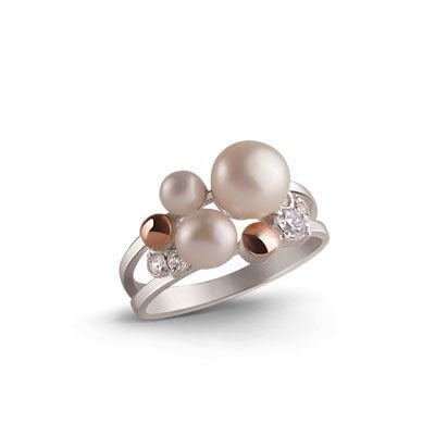 Exquisite Cluster of Freshwater Pearls, Cubic Zirconia and 9kt Rose Gold
