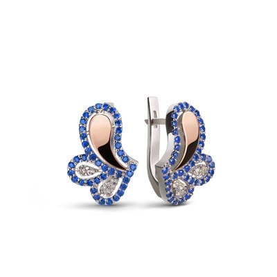 Mostly Handmade, Delicate Silver and Rose Gold Earrings with Blue and White Cubic Zirconia