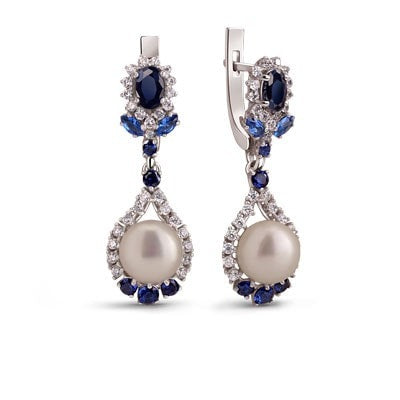 Glamour Silver Earrings with Sapphires and Freshwater Pearls