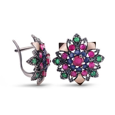 Colorful, Floral-Inspired Silver and 9kt Rose Gold Earrings with Cubic Zirconia