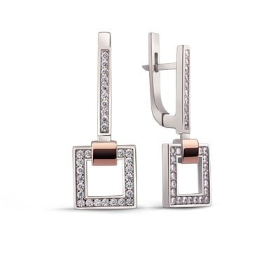 Stylish Geometric Silver and 9kt Rose Gold Earrings with Cubic Zirconia