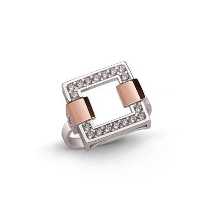 Stylish Geometric Silver and 9kt Rose Gold Ring with Cubic Zirconia