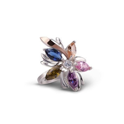 Colorful Floral-Inspired Silver and 9kt Rose Gold Ring with Cubic Zirconia