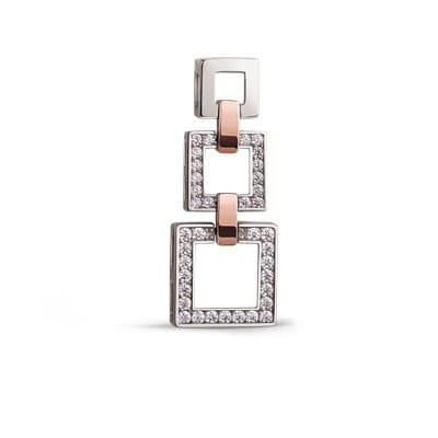 Stylish Geometric Silver and 9kt Rose Gold Pendant with Cubic Zirconia