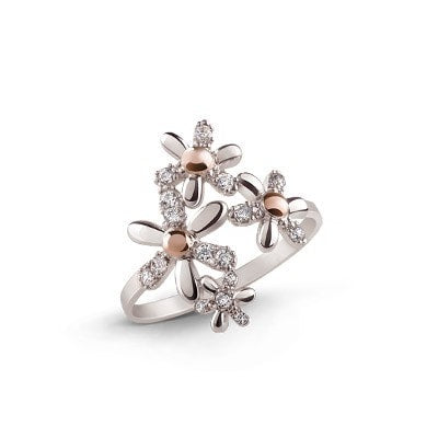 Alaska Silver and 9kt Rose Gold Ring with Cubic Zirconia