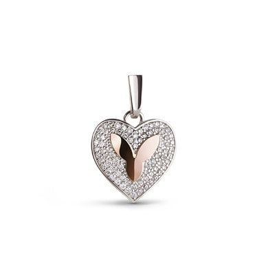 Silver and 9kt Rose Gold Pendant with Cubic Zirconia
