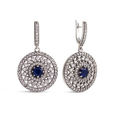 Elegant silver earrings with blue and white cubic zirconia