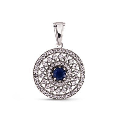 Silver pendant with white and blue cubic zirconia