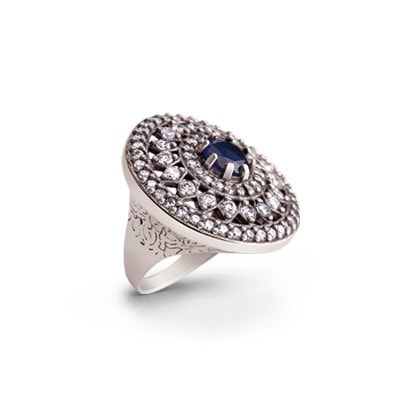 Evening accessory - blue and white silver ring