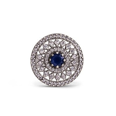 Elegant silver ring with blue and white cubic zirconia