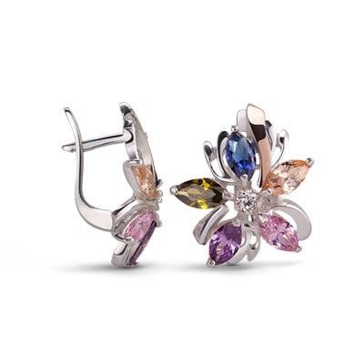 Colorful Floral-Inspired Silver and 9kt Rose Gold Earrings with Cubic Zirconia