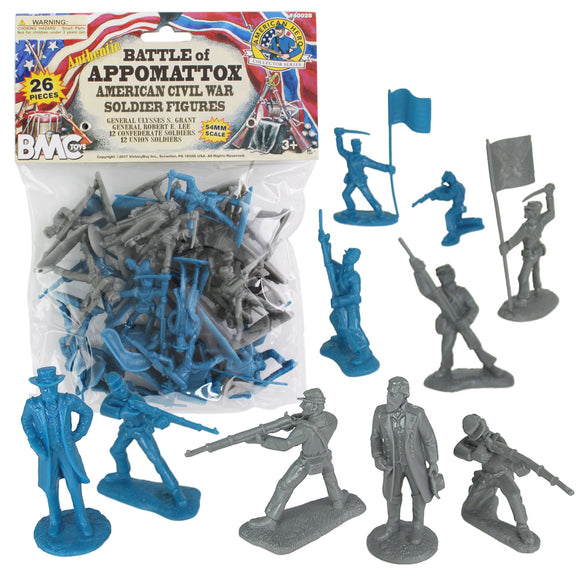 BMC Civil War Plastic Army Men - 26pc Battle of Appomattox Soldier Figures