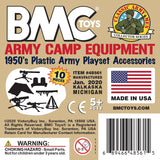 BMC Classic PLASTIC ARMY MEN CAMP EQUIPMENT - Tan 10pc Tents and Guns - Made in USA