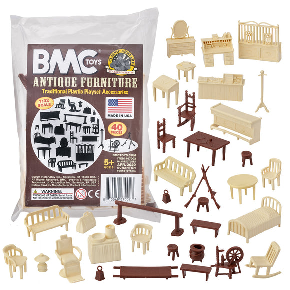 BMC Classic Marx Antique Furniture - 40pc Dollhouse Plastic Playset Accessories