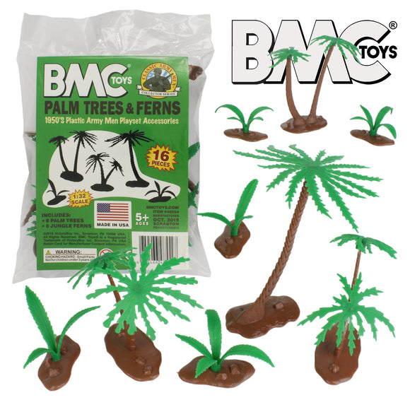 BMC Classic Marx Palm Trees & Jungle Ferns - 16pc Plastic Playset Accessories