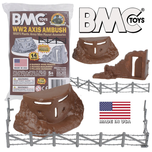 BMC Classic Marx Axis Ambush - 14pc Brown Plastic Army Men Playset Accessories