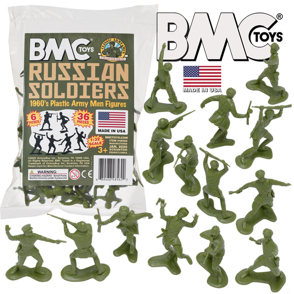 BMC Classic Marx Russian Plastic Army Men - OD Green 36pc WW2 Soldier Figures - Made in USA