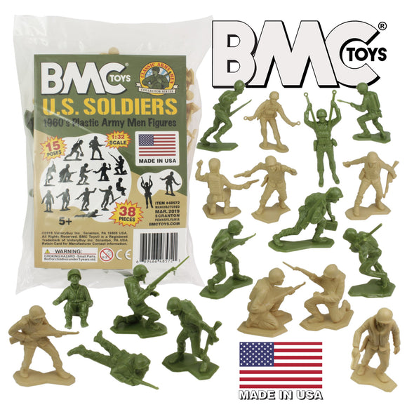 BMC Marx Plastic Army Men US Soldiers - Green vs Tan 38pc WW2 Figures - Made in USA