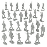 BMC Marx Plastic Army Men Marching US Soldiers - Gray 27pc WW2 Figures - Made in USA