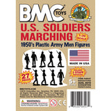 BMC Marx Plastic Army Men Marching US Soldiers - Tan 27pc WW2 Figures - Made in USA