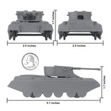 BMC Classic Payton Anti-Aircraft Tanks - 4pc Gray Plastic Army Men Vehicles - US Made