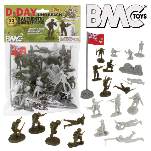 BMC WW2 D-Day Juno Beach Plastic Army Men - 33pc Canadian & German Soldier Figures