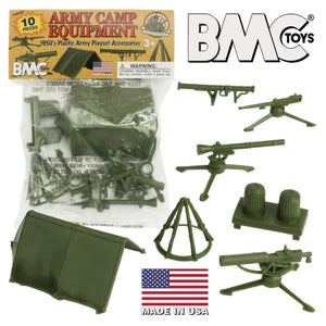 BMC Classic PLASTIC ARMY MEN CAMP EQUIPMENT - 10pc Tents and Guns - Made in USA