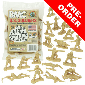BMC PLASTIC ARMY WOMEN - Tan 36pc Female Soldier Figures - Made in USA