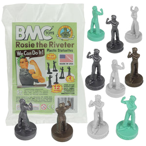 BMC ROSIE the RIVETER Plastic Figures - 12pc Classic Statue Colors
