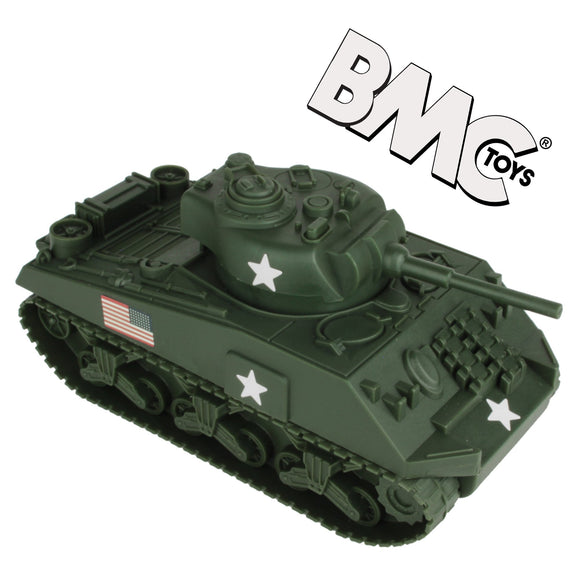BMC WW2 Sherman M4 Tank - Dark Green 1:32 Military Vehicle for Plastic Army Men