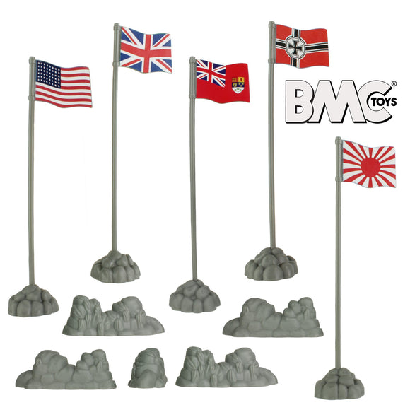 BMC WW2 Allies and Axis Plastic Army Men Flags - 10pc Military Playset Accessories