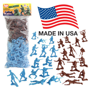TimMee PLASTIC ARMY MEN - Cyan vs Rust 96pc Toy Soldier Figures - Made in USA