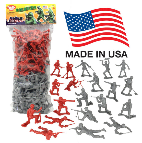 TimMee PLASTIC ARMY MEN: Gray vs Red 100pc Soldier Figures - Made in USA