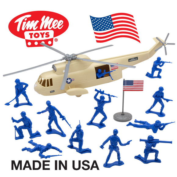 TimMee Plastic Army Men HELICOPTER Playset - Tan 26pc Made in USA