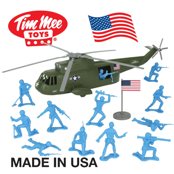 TimMee Plastic Army Men HELICOPTER Playset - Olive Green 26pc Made in USA