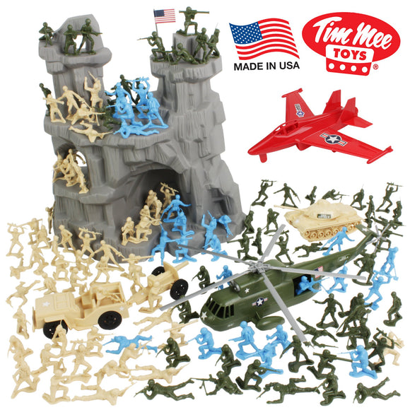 TimMee BATTLE MOUNTAIN Plastic Army Men Playset - Tan & Green 130pc - Made in USA