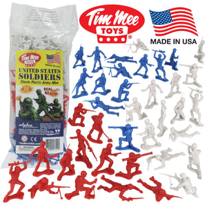 TimMee PLASTIC ARMY MEN Red White & Blue 72pc Soldier Figures - Made in USA