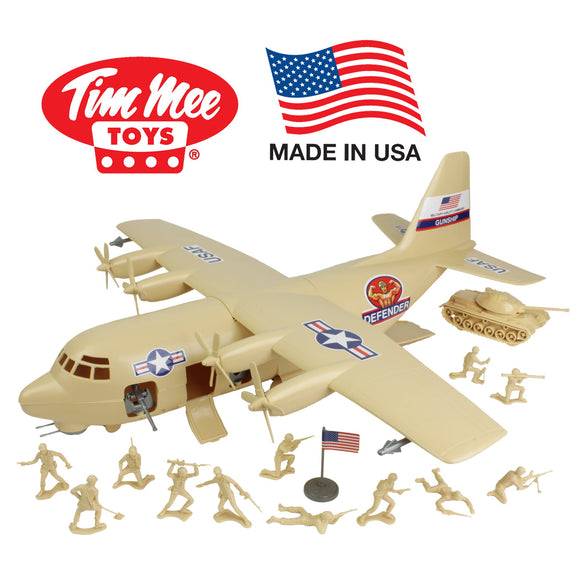 TimMee Plastic Army Men C130 Playset: Tan 27pc Giant Military Airplane - Made in USA