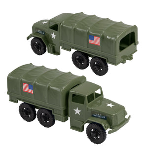 TimMee Plastic Army Men TRUCKS - M34 Deuce and a Half Cargo Vehicles - USA Made