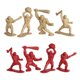 TimMee CAVEMAN Figures: Tan vs Red 48pc Set 40mm Tall - Made in USA