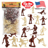 TimMee COWBOYS and INDIANS Plastic Figures: 40pc Playset - Made in USA
