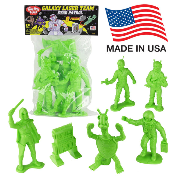 TimMee Galaxy Laser Team BIG Space Figures: Bright Green 8pc Set - Made in USA