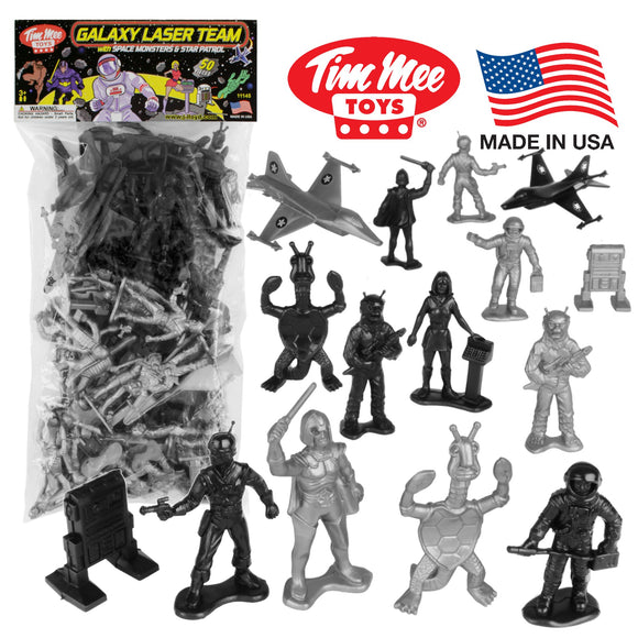 TimMee Galaxy Laser Team SPACE Figures: Black vs Silver 50pc Set - Made in USA