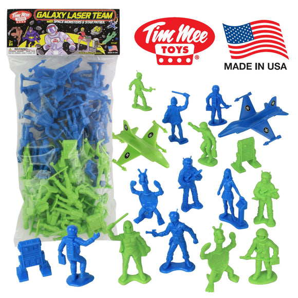 TimMee Galaxy Laser Team SPACE Figures: Blue vs Green 50pc Set - Made in USA