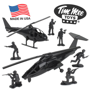 TimMee BLACK HELICOPTER Strikeforce: 8pc Plastic Army Men Playset - Made in USA