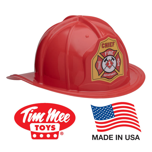 TimMee FIREMAN Helmet Kid Size - Red with Adjustable Headband Made in USA