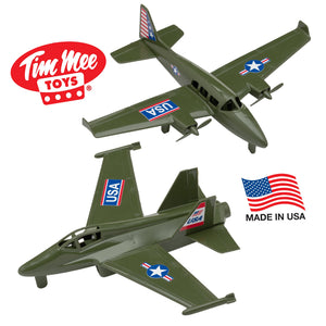 TimMee Prop Plane and Fighter Jet - 2pc Olive Green Plastic Army Men Air Support Made in USA