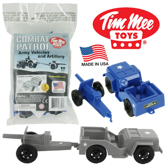 TimMee COMBAT PATROL Willys & Artillery - Blue & Gray 4pc Playset USA Made