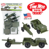 TimMee COMBAT PATROL Willys & Artillery:  Green 4pc Playset USA Made
