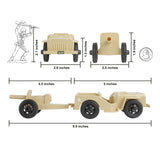 TimMee COMBAT PATROL Willys & Artillery:  Tan 4pc Playset USA Made